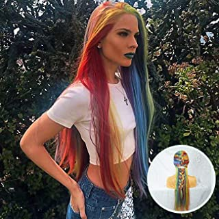 Everystyle Lace Front Wigs Rainbow Multi Color Glueless Synthetic Wig Long Straight For Women Natural Mix 8 Color,with Free Cap 24 inches