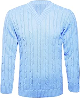Mens V Neck Chunky Cable Knitted Pullover Jumper Boys Long Sleeve Warm Winter Sweater S/5XL