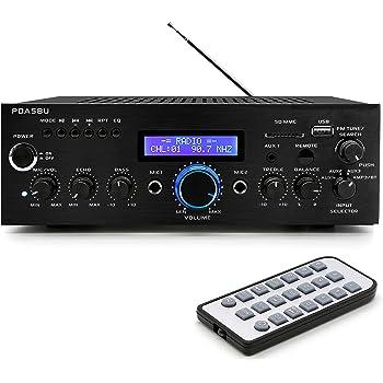Wireless Bluetooth Home Power Amplifier - 200 Watt Audio Stereo Receiver w/ USB Port, AUX IN, AM FM Radio, DVD CD Player, 2 Karaoke Microphone Input, Remote - Home Entertainment System - Pyle PDA5BU