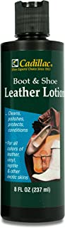 Cadillac Boot and Shoe Leather Conditioner and Cleaner Lotion 8 oz - Conditions, Cleans, Polishes & Protects All Colors of Leather - Great for Footwear, Furniture, Handbags, Jackets & More