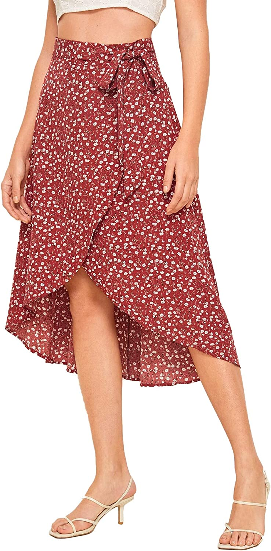 SheIn Women's Boho Ditsy Floral Knot High Waisted Wrap Split Midi Skirt