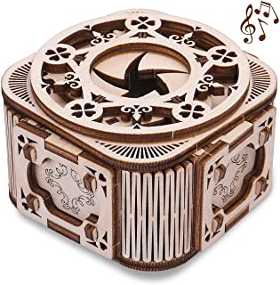GuDoQi Mini Music Box, Handmade Wood Model Kit, 3D Wooden Puzzle for Teens Adults to Build, Make Your Own Woodcraft Kit, D...