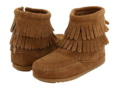 Minnetonka Kids Side Zip Double Fringe (Toddler/Little Kid/Big Kid) (Taupe Suede) Girls Shoes