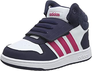 adidas Baby Girls' Hoops MID 2.0 Shoes, Footwear White/Real Magenta/Trace Blue
