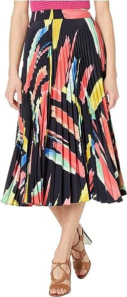 Modern Brushstroke Print on Poly Twill Pleated Skirt