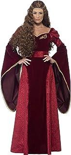 Smiffy's - Disfraz de reina medieval, color rojo, Pequeña (27877S)