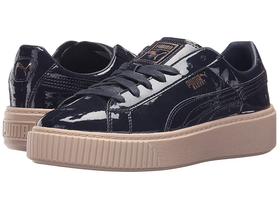 2177c3c4a1c PUMA Basket Platform Patent (Peacoat Peacoat 1) Women s Shoes