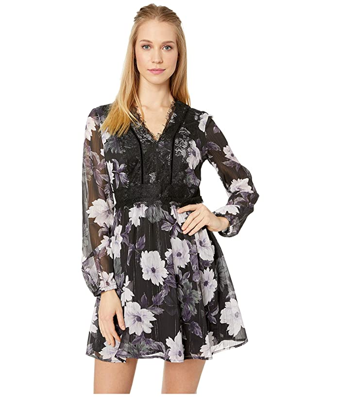 Cupcakes and Cashmere Joaline Lace Detailed Print Dress (Black) Women