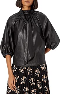 Rebecca Taylor Women's Short Sleeve Vegan Leather Top with Tie at Neckline