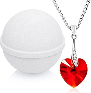 Mint Butter Cream Bath Bomb with Necklace Created with Swarovski Crystal Extra Large 10 oz. Made in USA
