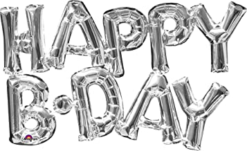 "amscan 30"" Phrase Happy Birthday Silver Balloon"