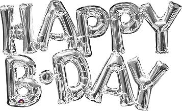 "amscan 30"" Phrase Happy Birthday Silver Balloon"