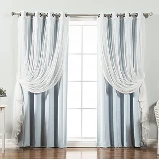 Best Home Fashion uMIXm Tulle Sheer Lace & Blackout 4 Piece Curtain Set - Antique Bronze Grommet Top - Sky Blue - 52