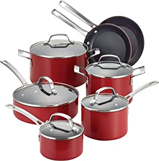Circulon 14501 Genesis Nonstick Cookware Pots and Pans Set, 12 Piece, Red