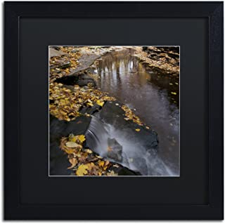 Lakeview Autumn Waterfall No.2 in Black Matte and Black Frame Artwork by Kurt Shaffer, 16 by 16-Inch