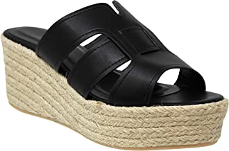 MVE Shoes Womens Stylish Comfortable Open Toe Slip On Wedge Sandal