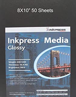 """Inkpress Glossy, Single Sided Gloss Surface Inkjet Paper, 240gsm, 10.4 mil., 8x10"""", 50 Sheets"""