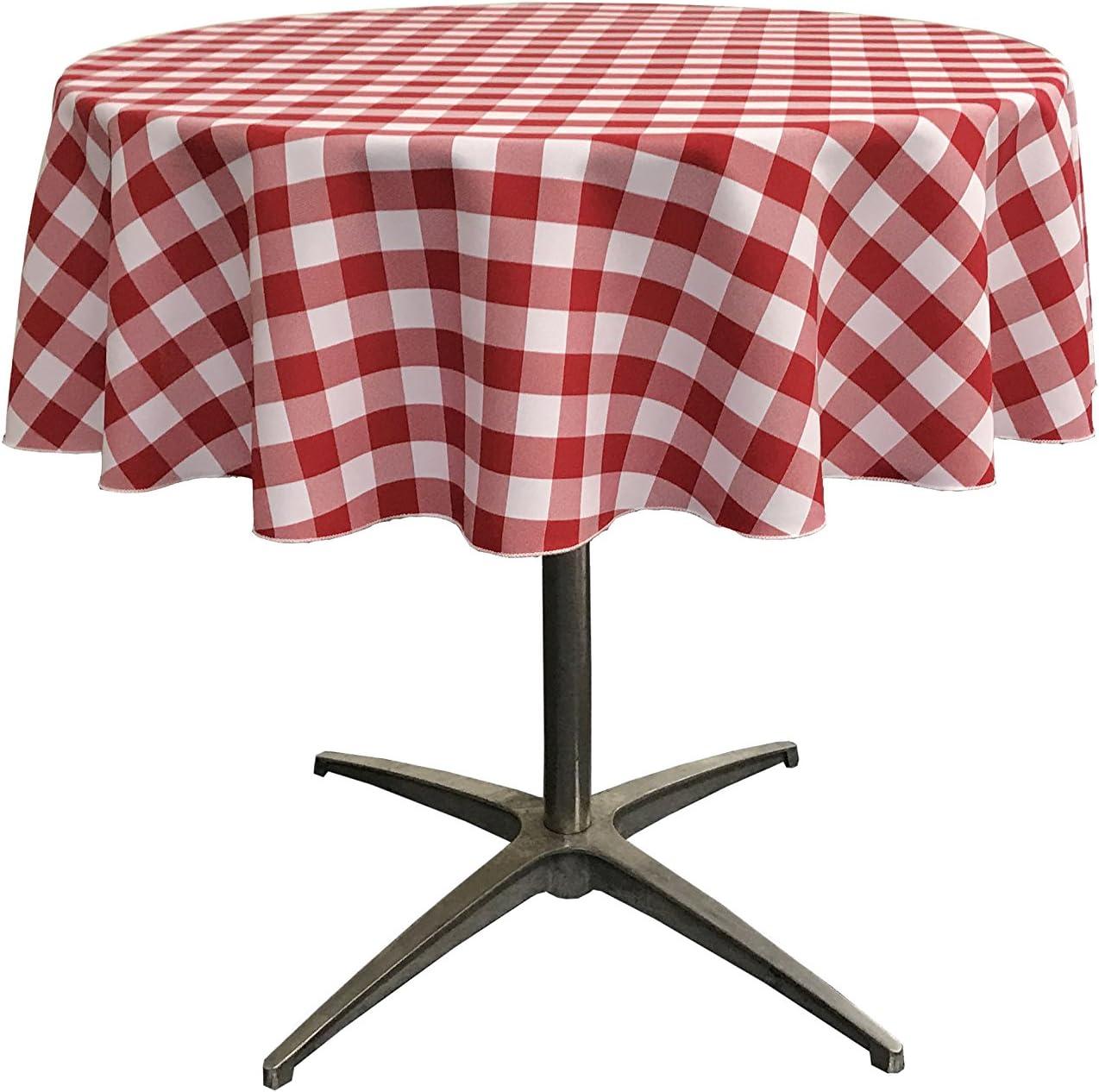 La Linen Poly Checkered Round Tablecloth 51 Inch Orange White 129 5 X 129 5 X 0 04 Cm Amazon Co Uk Kitchen Home