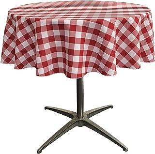 LA Linen Poly Checkered Round Tablecloth, 51