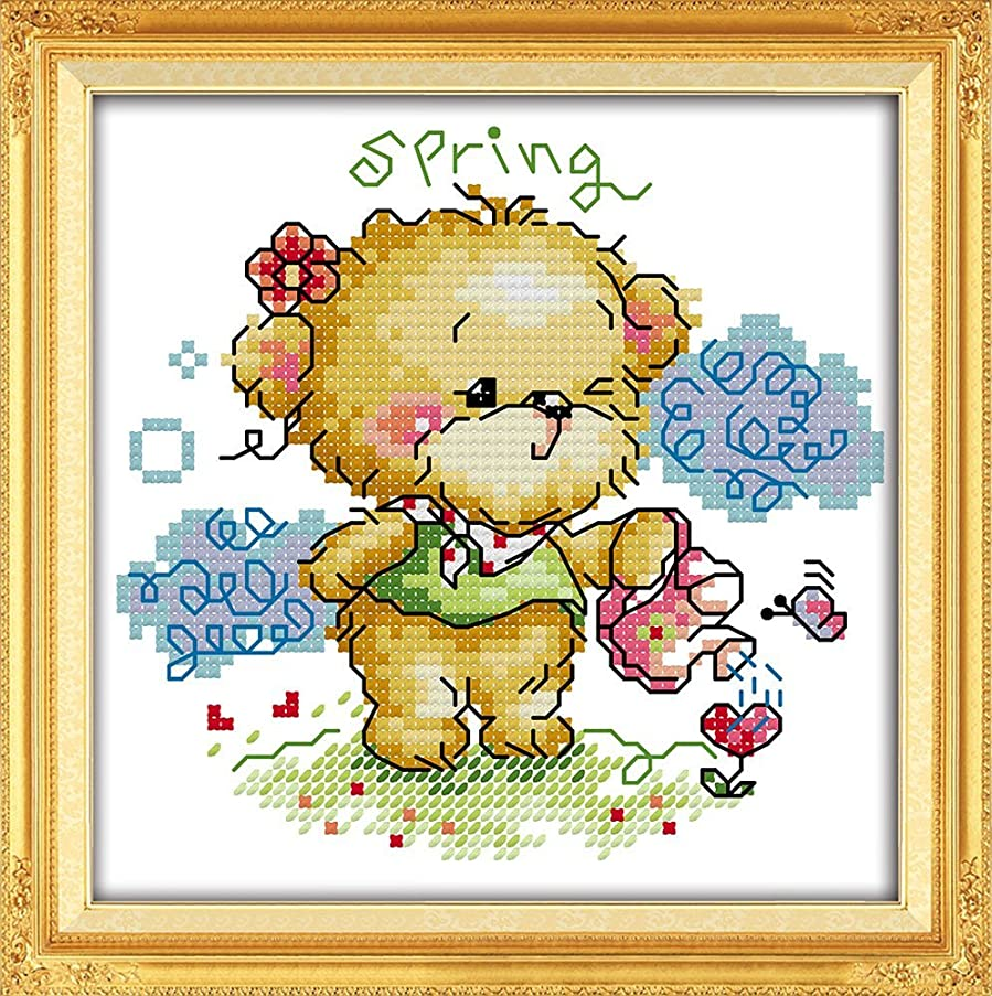 YEESAM ART New Cross Stitch Kits Advanced Patterns for Beginners Kids Adults - Four Seasons Little Bear-Spring 11 CT Stamped 20x20 cm - DIY Needlework Wedding Christmas Gifts