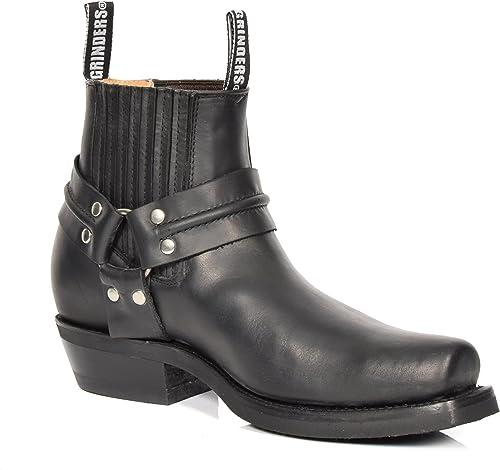House Of Leather Chelsea Bottes en Cuir Véritable Cowboy Style Biker Glisser sur Bout Carré Chaussures 04RE-LO Noir
