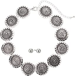 Silver Disc Choker/Earrings Set