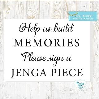 Help us build memories. Please sign a Jenga Piece. 8x10 Wedding Sign. Alternative Guest Book Sign Idea Jenga Sign
