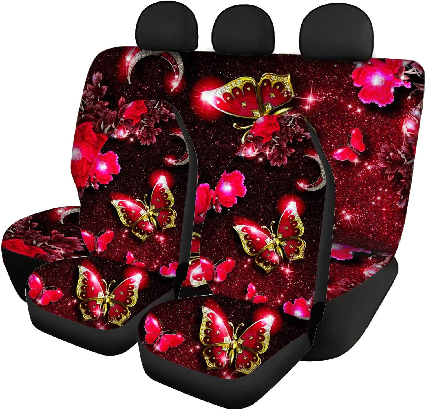 ZFRXIGN Red Great interest Crystal Butterfly Car Front Covers Spasm price Back Seats Seat C