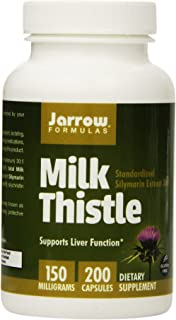 Jarrow Formulas Milk Thistle, Promotes Liver Health, 150 mg Caps, 200 Veggie Capsules (Pack of 2)