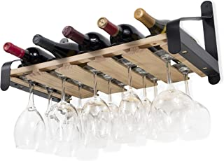 Rustic State Wall Mounted Wood Wine Rack or Liquor Bottle Storage Holders | Stemware Racks Organizer (Natural)