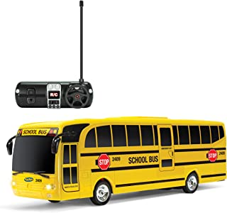 Kidirace Remote Control School Bus with Beaming Lights, Rechargeable Battery – High-Speed RC Cars for Boys and Girls