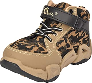 MYAU Casual & Outdoor Military Boot Style Kids Boys Shoes - Beige Color
