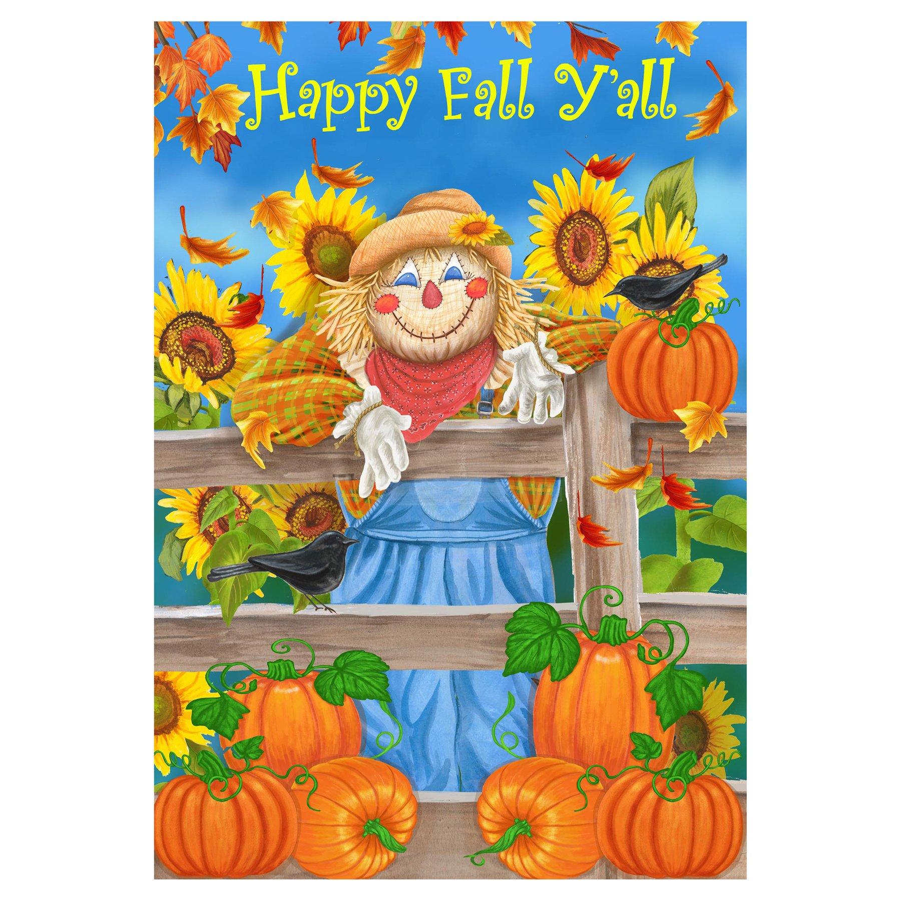 Happy Fall y todos los espantapájaros calabazas girasoles bandera de Jardín 12 x 18: Amazon.es: Jardín