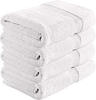 Capella Collection Cotton Bath Towel Set of 4 - Thick and Soft Terry Cloth Hotel and Spa Quality Bath Towels Made with 100% Ring Spun Cotton (27Wx50H, 14)