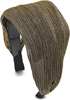 Elegant Classic Broadside Wide Silver Gold Black Glossy Stripes Lace Headband Hair Hoop Hairband