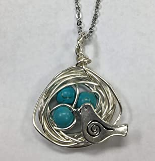 Robins Nest or Bird's Nest Pendant with 3 Turquoise Eggs on a 24 inch stainless steel link chain