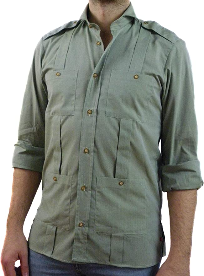 Camisa Guayabera Caballero Verde Trinchas (3XL): Amazon.es: Ropa