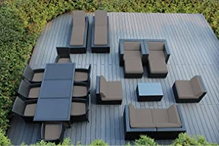Ohana 20-Piece Outdoor Patio Furniture Sofa, Dining and Chaise Lounge Set, Black Wicker with Sunbrella Taupe Cushions - Free Patio Cover