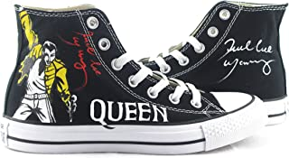 Unisex Black Canvas Hand Painted Design Shoes Freddie Mercury Sneakers Young People Sport Zapatos