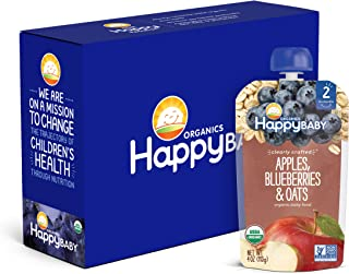 Happy Baby Organics Clearly Crafted Stage 2 Baby Food, Apples, Blueberries and Oats, 4 Ounce Pouch (Pack of 8)