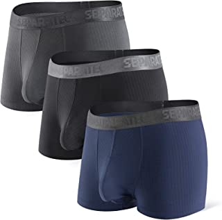 Separatec Men's 3 Pack Soft Modal Stylish Drop Needle Striped Trunks Underwear
