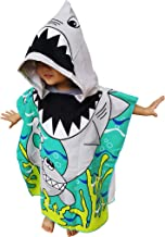 "Athaelay Lightweight Microfiber Hooded Beach Towel for Kids, Toddlers Bath/Pool/Swim Poncho Cover-ups Swimwear 24""X48"" for 1-6 years kids Green GREAT WHITE SHARK"