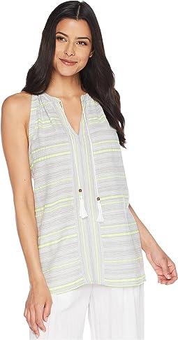 Yarn-Dyed Stripe Gauze Halter Blouse w/ Tassel