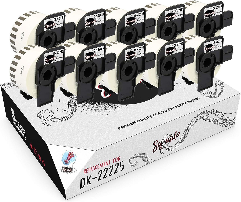 Squuido 10 rouleaux DK-22225 DK22225 Papier /Étiquettes Continues compatibles avec Brother P-Touch QL-500 QL-550 QL-560 QL-570 QL-580 QL-700 QL-800 QL-810W QL-820NWB QL-1100 QL-1110NWB 38mm x 30.48m