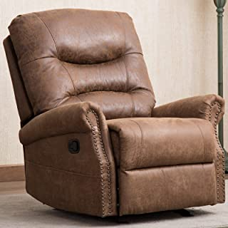 ANJ Rocker Recliner Chair with Breathable Bonded Leather, Classic Manual Recliner Chair, Nut Brown