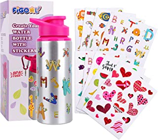 FiGoal Make Your Own Bottle with Assorted Designs Stickers DIY Decorate Your Own Water Bottle for Girls BPA Free 600 mL Ki...