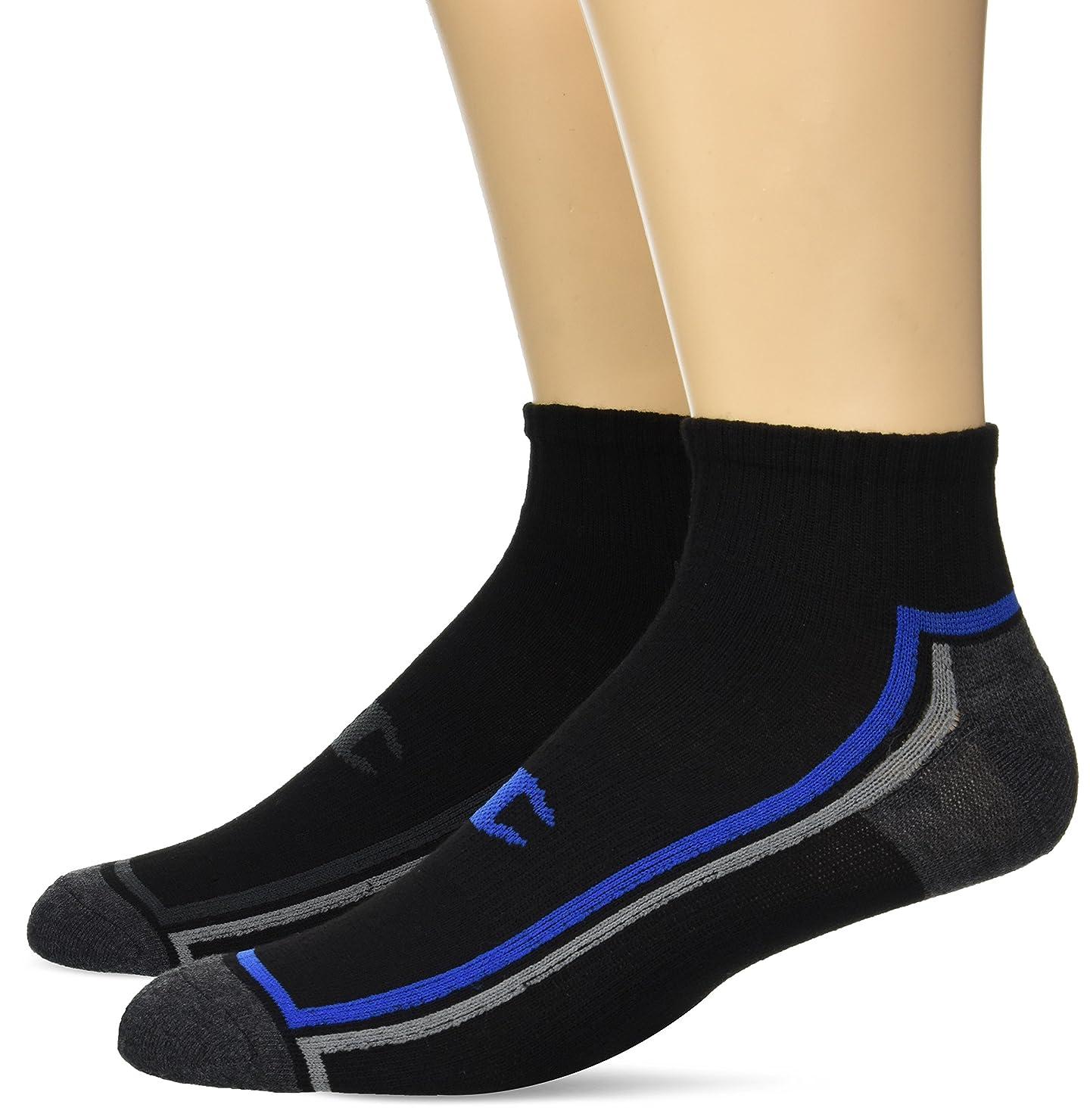 代数的王朝手当Champion Men's Ankle Training Socks 3-Pack, Black with Blue Assortment 6-12