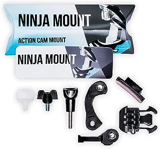 NINJA MOUNT - Big Pack - Action Kamera Halterung Fullface Helme | kompatibel mit GoPro, Garmin & Rollei | spezieller Mount für Downhill/ATV/Motocross Helme mit Visier | Made in Germany | schwarz
