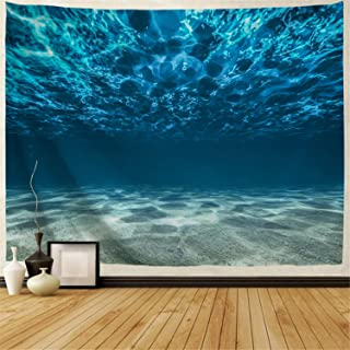 BJHAP Ocean Tapestry Wall Hanging 60 x 40, Tropical Deep Sea Underwater with Pebbly Sandy Mixed Bottom Surface and Sun Beams Coming from Surface Wall Tapestry for Bedroom Living Room College Dorm