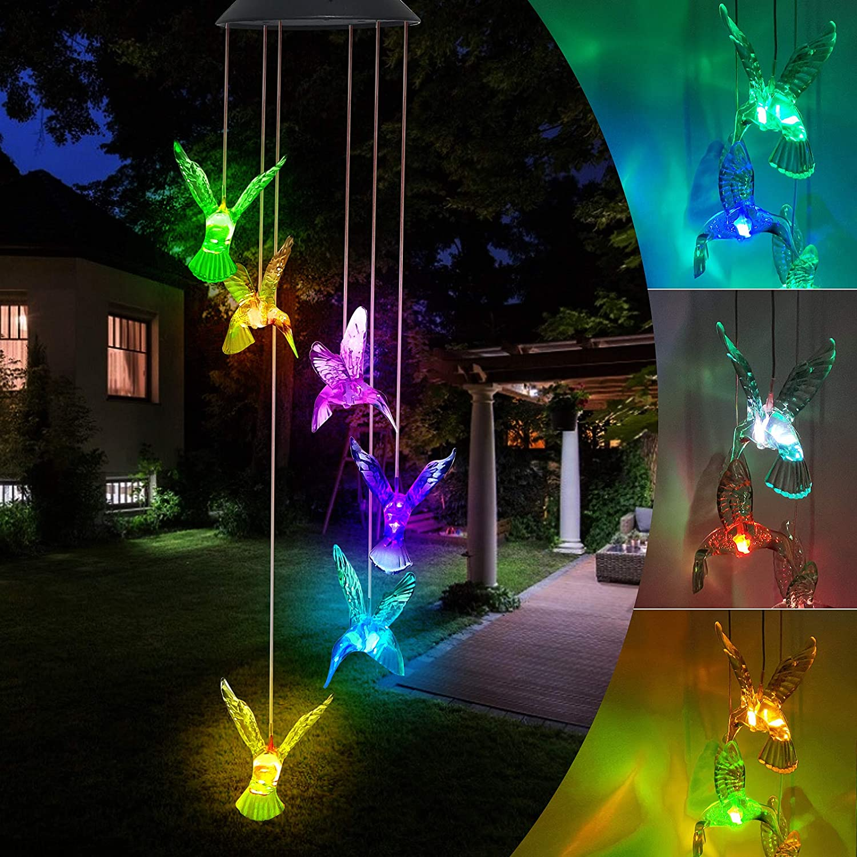 LED Solar Hummingbird Wind Chime - Changing Color Windchime Mobi
